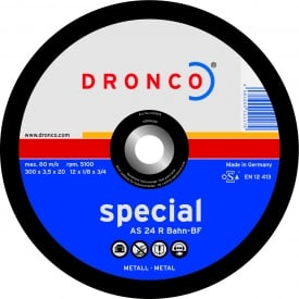 300 x 3.5 x 20mm A24R-BR Dronco Metal Cutting Disc