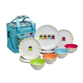 Camper Smiles 12 pcs Melamine Set with 16ltr Cooler Bag