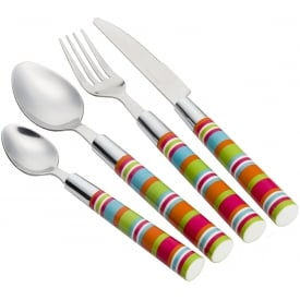 Flamefield Camper Smiles 16 Piece Stripe Cutlery Set