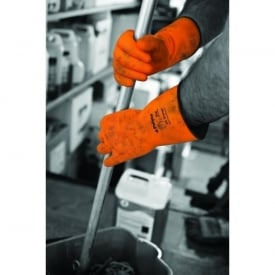 Jet Heavy Duty Natural Rubber Gloves - Flock Lined