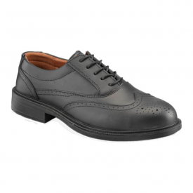 Black Safety Brogue Shoes With Steel Midsole