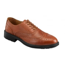 Brown Safety Brogue Shoes with Steel Midsole